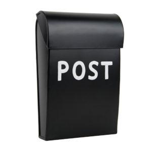 Kleiner Briefkasten aus Metall, schwarz, skandinavischer Stil