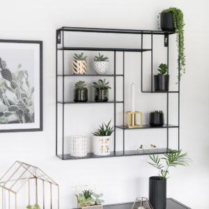 Bruka Design Wandregal, Metallregal, schwarz 60 x 60 cm, Skandi