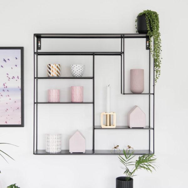 Wandregal im Skandi-Look, Metall, schwarz, aus Schweden von Bruka Design