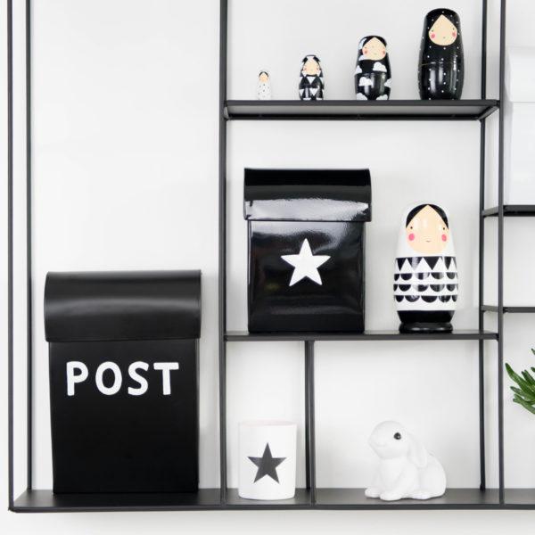 Briefkasten Kinder schwarz, metall, Bruka Design
