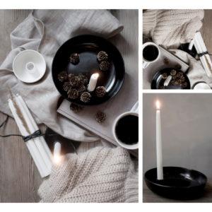 Storefactory Lidatorp Kerzenständer schwarz glasiert