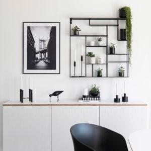 Wandregal aus Metall, schwarz, mit verschiedenen Fächern, Bruka Design, 80 x 80 cm