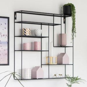 Wandregal Metall, schwarz, 60 x 60 cm, Bruka Design aus Schweden