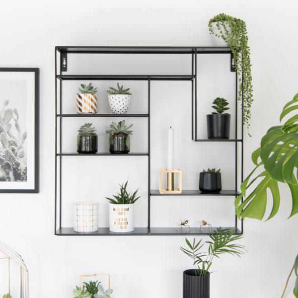 Wandregal im Skandi-Stil, schwarz, metall, 60 x 60 cm, Bruka Design