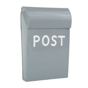 Briefkasten für Kinder Spielhaus oder Kinderzimmer, metall, hellgrau, skandinavisches