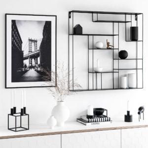 Wandregal schwarz metall Bruka Design