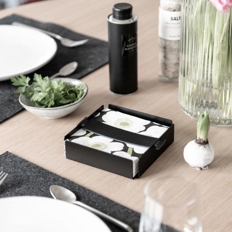 Serviettenhalter schwarz minimalistisch