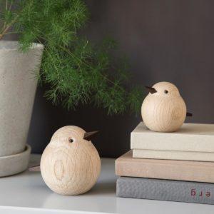 Dekofiguren moderne Spatzen Eichenholz